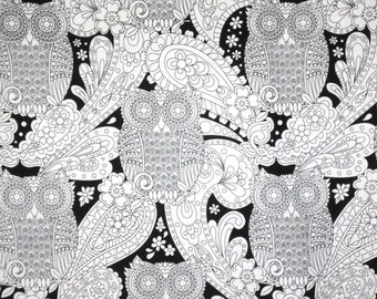 Black and White What a Hoot Owl Print Pure Cotton Fabric--One Yard