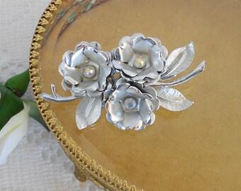 Flower Hair Clip, OOAK Bridal Hair, Silver Hair Clip, Vintage Coro Brooch, Aurora Borealis Clip, Flower Barrette, Silver Leaf Hair Clip
