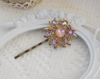 Crystal Bobby Pin, Flower Bobby Pin, Wedding Hairpin, Gift for Her, Pink Bobby Pin, Jeweled Bobby Pin, Hair Stick Pin, Hair Jewlery, OOAK