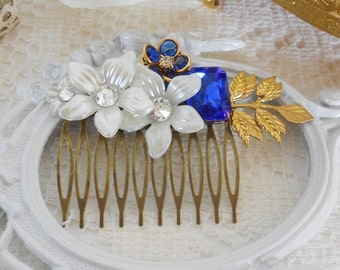 Sapphire Hair Comb, Floral Hair Comb, Blue Hair Comb, Something Blue, Assemblage Hair Jewelry, Collage Hair Comb, Rhinestone Hair Piece
