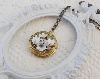 Locket Necklace, Assemblage Jewelry, Art Nouveau, Flower Locket, Collage Locket, Jeweled Locket, Memory Locket, White Flowers, Heirloom
