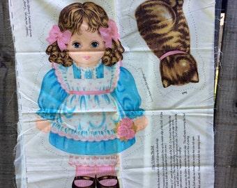 "Cut and Sew Vintage Fabric Panel - ""Oh You Beautiful Doll - Jennifer and Catnip"" by VIP Cranston Print Works - stuffed doll, stuffed animal"