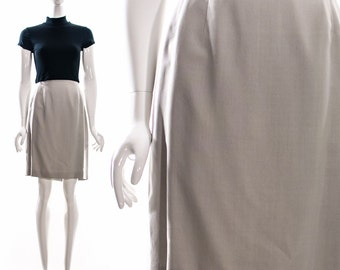 Vintage EMANUEL UNGARO Light Grey Silk High Waist Skirt 90s Designer Skirt