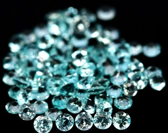 APATITE (32062) -  PARCEL (80 Stones+ & 2.9 cts.) Small! 2mm Bright Blue / Green Apatite 1.7 mm Round - Faceted - Clean!