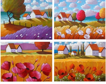 Print Set 5x7 Summer Cottages, Set of 4 Country Flower Folk Art Giclee, Tall Grass Ocean Landscape, Archival Art Print Collection by Horvath