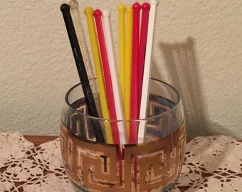 Set of Ten 10 Retro Swizzle Drink sticks 1960s 1970s