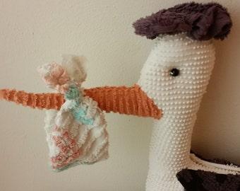 stork  handmade from vintage chenille bedspread