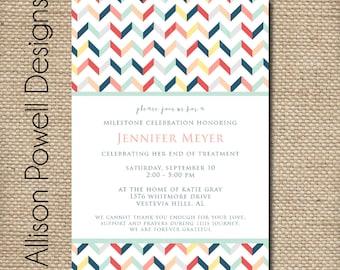 Beating Cancer Invitation, No More Chemo Celebration, Cancer Survivor Party Invitation - DIY or PRINTED