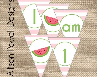 Watermelon Birthday Party Summer Birthday Party - Print your own - Pink or Red-I am 1 High Chair Banner