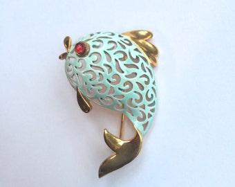 Vintage Jonette Jewelry JJ Brooch, Fish Pin
