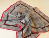 Sale Black,white, red polyester striped geometric square scarf.  Made in Italy.