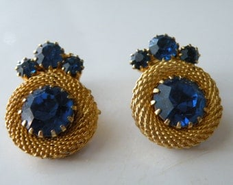 On Sale Blue round mesh clip-on earrings.