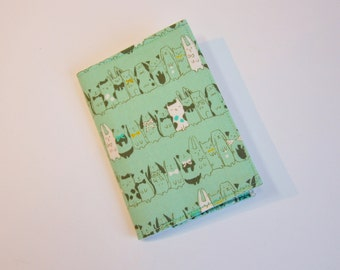 Passport Cover Passport Holder Sleeve Mint Green cat and cute animals bunnies Tokyo Train Ride by Cotton and Steel