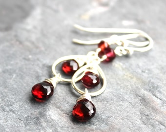 Garnet Earrings Teardrop Red Gemstone Dangles Sterling Silver Faceted Gems