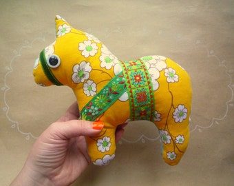 Sunny horse, dala horse, pony soft art  toy creature by  Wassupbrothers yellow, blooming flowers, flowered, spring summer