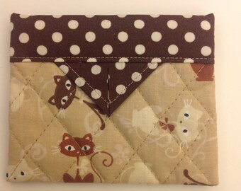 """Cute Cats Quilted Fabric Mini Snap Bag Purse 5"""" x 4"""""""