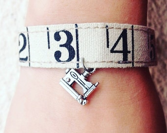 Sewing Bracelet Machine and Ruler Bracelet - Linen Measuring Tape - Sewers - Knitters Seamstress Quilters Gift Party Favor Swap Gift