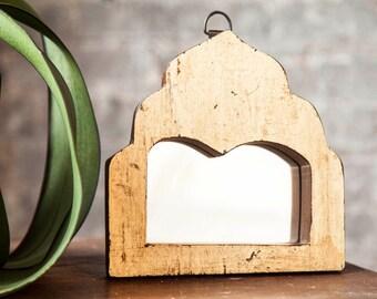 Mirror Reclaimed Vintage Indian Door Panel Wall Hanging Art Double Arch Yellow Moroccan Mirror Mediterranean Decor Turkish Interior