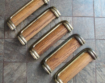 5 Vintage Drawer Pulls Cabinet Handles Wood Brass Finish Mid Century Modern
