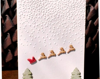 Handmade Christmas Card Embossed and Crafted: Tiny Sleigh and Reindeer