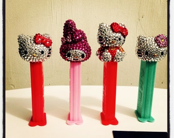 4 total PEZ Kitty and Melody rhinestone encrusted Pez Dispensers