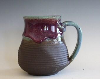 Pottery Mug, 15 oz, handthrown ceramic mug, stoneware pottery mug, unique coffee mug