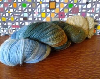 Hand Dyed Fingering Weight Superwash Merino Nylon Stellina Sock Yarn- Sparkle Fathom 462 yards