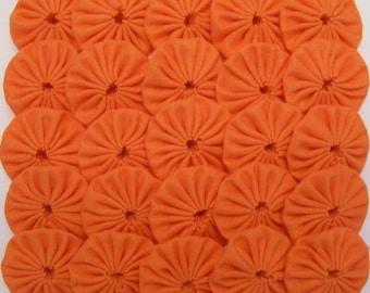 50 Solid Bright Orange 1 inch Yo Yos Applique Quilt Pieces Scrapbooking Embellishments
