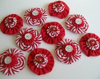 Set of 10 Embellished Yo Yos Red and White