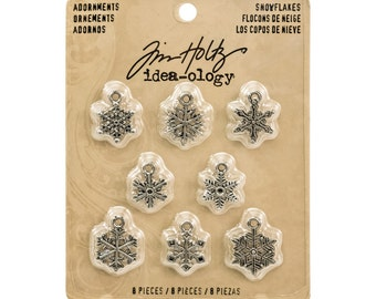 Tim Holtz Ideaology Adornments Snowflakes (set of 8)