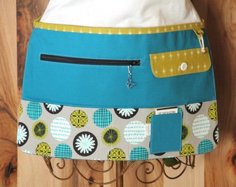 Vendor Apron, Utility Apron, Teacher Apron - Turquoise with Grey and Olive - Ready to Ship