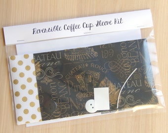 DIY Coffee Cup Sleeve Sewing Kit - Wine Labels and Metallic Gold Dots - Ready to Ship