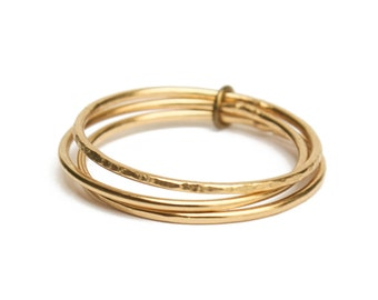 ELEMENTS II - Gold plated Trio stacking hammered ring (EHBA01)
