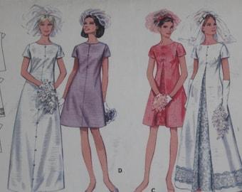 """60's Butterick Misses Brides & Bridemaids' Dresses  Size 10  Bust 32 1/2"""""""