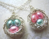 Three Eggs in a Bird Nest Necklace, Pick Your Color- Pink & Blue, Cultured Freshwater Pearls Wire Wrapped Triple Nest, Knottin' Nest Jewelry