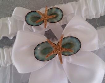 Something Blue Double Garter- Aqua Blue Green Limpet Shells & Starfish Garter Pair/ Beach Wedding Accessories/ Wedding Attire