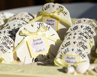 calligraphy beach wedding favors sand dollars w bride and grooms name wedding date