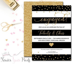 Engagement Invitation, Engagement Party Invitation, Bridal Shower Invitation, Wedding Shower Invitation, Gold Glitter, Wedding Shower
