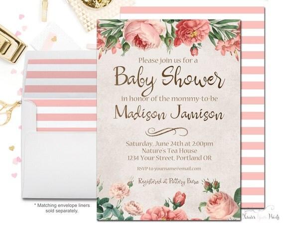 Girls Baby Shower Invitation, Girls Baby Shower Invites, Rustic Baby Shower, It's A Girl, Country Baby Shower, Baby Shower Invitation