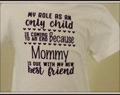 New sibling shirt, pregnancy reveal shirt, new baby shirt, sibling photo shoot, big sister shirt, big brother shirt, only child shirt