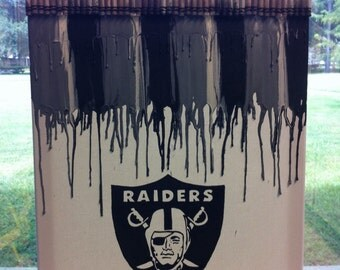 Raiders inspired melted crayon painting