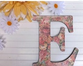 Fourth of July SALE Shabby Chic /Wall Letter / Letter E /Nursery Wall Letter /Large Letter Wall Decor /Flower Decor