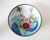 Vintage Tobacco Leaf Catchall, Brass Encased Porcelain, Chinoiserie Dish