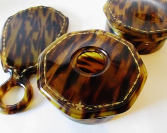 Faux Tortoise Shell Vanity Set, 1930s Celluloid, Hair Receiver, Beveled Hand Mirror