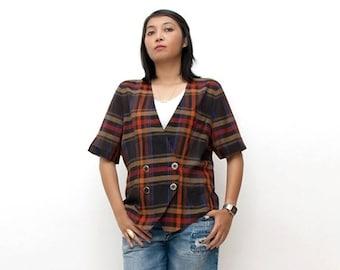 SUPER SALE ON Sale/Vintage 80s Blazer/80s Plaid Blouse/Black Orange Brown Plaid Short Sleeve Blazer, Extra Large