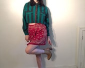 90s levis cropped long sleeve green plaid pearl snap shirt size m