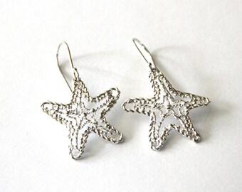 sea star earrings, sterling silver earrings, crochet earrings,dangle silver earrings, Bridal Lace earrings,filiigree earrings