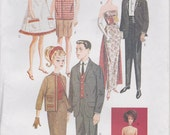 "Tuxedo Pattern For Fashion Doll 11 1/2"" Gown Dress Suit Skirt Shorts Uncut Butterick 6668 Retro 50s 60s"