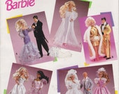 "Barbie Wedding Dress Pattern For Fashion Doll 11 1/2"" Ken Tuxedo Evening Gown Party Dress Simplicity 0691 UNCUT"