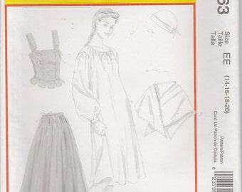 Colonial Dress Costume Pattern Corset Skirt Shawl Cap Misses Size 14 - 20 McCalls 4863 Uncut